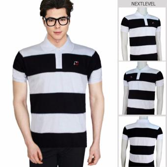 Harga 7782 NEXTLEVEL Classic Performance Short Sleeve Stripe Polo Shirt (MEDIUM)(White-Black)