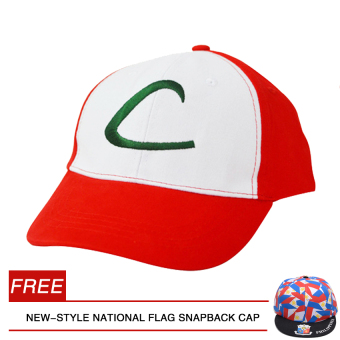 Anime Cospaly Hat Pokemon ASH KETCHUM Visor Cap (A) with Free HK-1 New-style National Flag Snapback cap Price Philippines