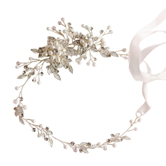 Wedding Bridal Bridesmaid Flower Hair Crown Beads Headband with Ribbon(Silver) - Intl Price Philippines