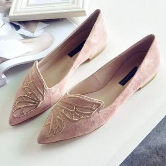 JOY Butterflies embroidered pointed flat shoes(pink) Price Philippines