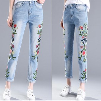 Women Embroidered Jeans Distressed Cropped Jeans Flower Pants Off White Skinny Female Jeans Korean Slim Nine Pants Trousers - intl Price Philippines