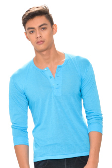 Harga Tex-Cock Long Sleeves Camisa de Chino (Aqua Blue)