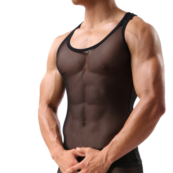 Harga EOZY Korean Style Men's Waistcoat Sexy Male Sleeveless Slim Tight Ultra Thin Gauze Breathable Vest Tank Top Muscle Clothes (Black)