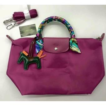 Harga LC Long Le Pliage Champ Neo Medium Free Twilly & Charm Original (HYDRANGEA) Made in France SHORT HANDLE