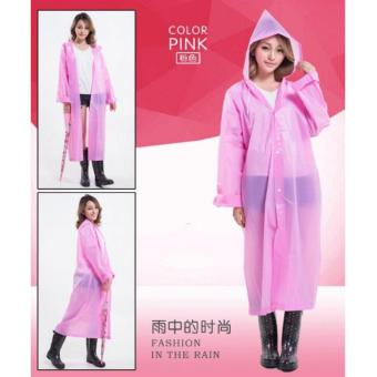 Men/Women Waterproof Jacket Clear PVC Raincoat Hooded Poncho Pink Price Philippines
