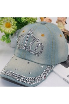 Harga Moonar Fashion Women Denim Rhinestone Embedded Baseball Cap (6#)