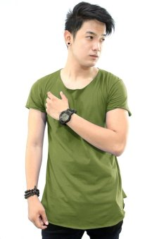 BLKSHP Scoop Neck Long Tee with Curved Hem and Raw Edges (Military) Price Philippines