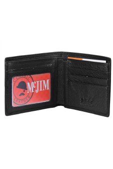 Harga McJIM W-63-2053P Smooth Cow Leather Billfold Wallet (Black)