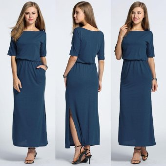 Harga MG Slash Neck Batwing Solid Side Split Maxi Long Dress(Navy Blue) - intl