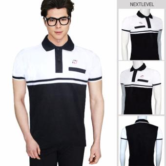 Harga 7765 NEXTLEVEL Classic Performance Short Sleeve Stripe Polo Shirt (LARGE)(White-Black)