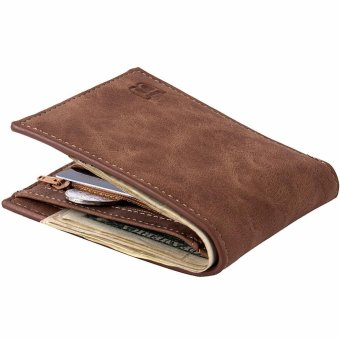 Harga New Men's Short Wallet Creative Fashionable Canvas Pocket Wallet - Coffee - intl