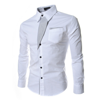 Harga Moonar Men Fashion Formal Casual Style Long-Sleeve Pocket Slim Shirt (White )