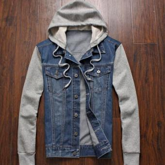 Leyi Men can remove the hooded jean jacket Blue - intl Price Philippines