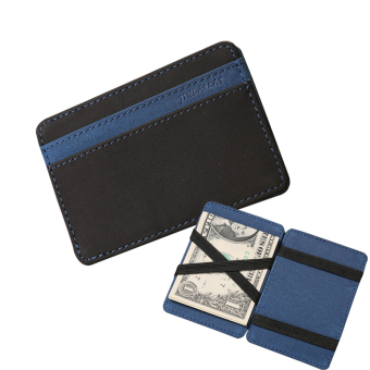 Harga Slim Male Magic Wallet leather Purse Men Women High Quality Carteira Magica Masculina Porte Monnaie Small Wallets -Blue - intl