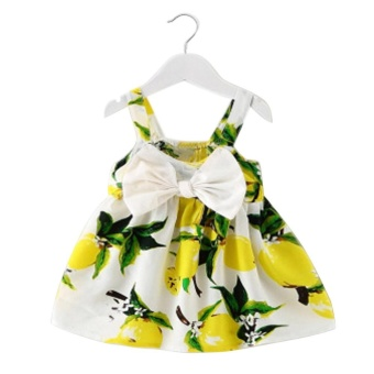 Baby Girl Clothes Lemon Printed Infant Outfit Sleeveless Princess Gallus Dress Yellow - intl Price Philippines