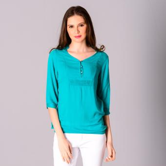 Harga Redgirl Quarter Sleeves Woven Blouse RLT04-2751 (Teal Blue)