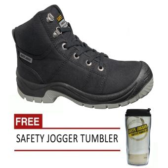 Safety Jogger Desert S1P High Cut Men Safety Shoes Footwear Steel Toe (Black) with Free Safety Jogger Tumbler Price Philippines