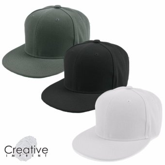 Harga Creative Imprint Plain SnapBack HipHop Fashion Flat Brim Cap Bundle Set of 3 Colors (Grey, Black, White)
