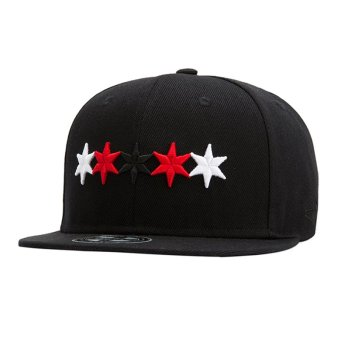 Harga Fashion Causal Unisex Cool Summer Flat Cotton Outdoor Star Baseball Caps-Black(W541) - Intl