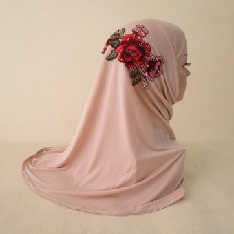 The National Women's Headscarf Is Covered with an Ice Thread HIjab and a Malaysian Embroidered Hat Pink - intl Price Philippines