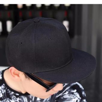 Harga Creative Imprint Plain SnapBack HipHop Fashion Flat Brim Cap (Black)