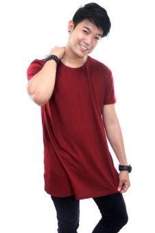Harga BLKSHP Oversized Softstyle Longline Tee (Solid Maroon)