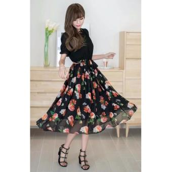 Korean Nami Floral Chiffon Midi Dress (Black) Price Philippines
