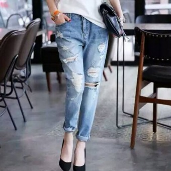 Pudding Lady hole jeans Blue Price Philippines