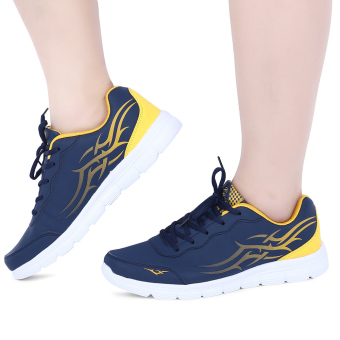Stylish Color Block Lace Up Male Breathable Sports Shoes(Yellow) - intl Price Philippines