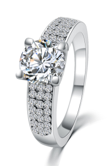 Platinum Plating Crystal Wedding Engagement Ring (Silver) Price Philippines
