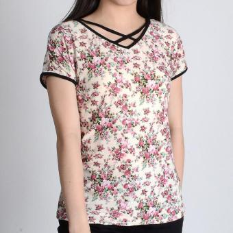 Harga Redgirl Short Sleeves Blouse Rgt12-0413 (Beige/Black)