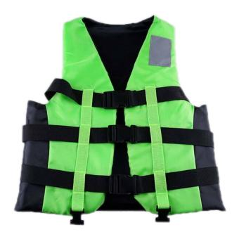 Harga Polyester Adult Life Jacket Universal Swimming Boating Ski Vest+Whistle Green - intl