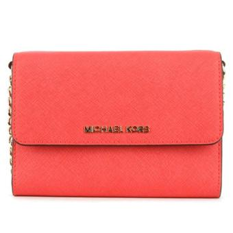Harga MICHAEL KORS Jet Set Travel Saffiano Leather Smartphone Crossbody CORAL