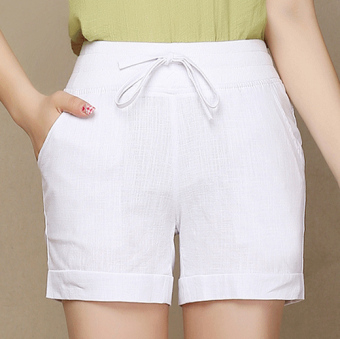 Harga Ladies Leisure Candy Color Elastic Waist Linen Shorts (White) (Intl)