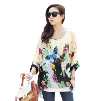 Women Lady Blouse Butterflies Flowers Floral Batwing Sleeve Loose Tee Shirt Casual Tunic Top Bohemia - Intl Price Philippines