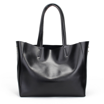 Harga Eozy Women's Genuine Leather Shoulder Tote Bag (Black)
