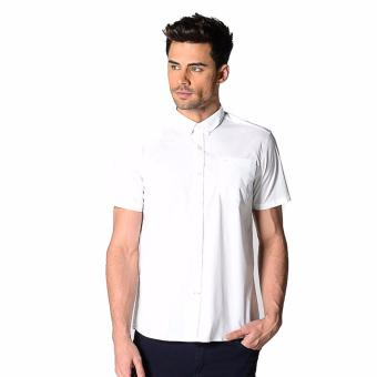 Harga Memo Basic Stretch Solid Short Sleeve Shirt With Tonal Owl Embro (White)