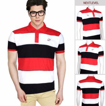 Harga 7781 NEXTLEVEL Classic Performance Short Sleeve Stripe Polo Shirt (MEDIUM)(Black-White-Red)