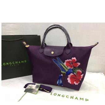 Longchamp Robin Embroidered Medium Tote Bag (Violet) Price Philippines