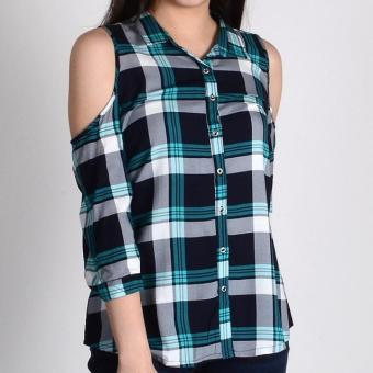 Harga Redgirl Quarter Sleeves Blouse Rlt04-3188 (Navy/T.Green )