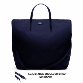 Harga Lacoste L.12.12 Concept Nylon Zippered Vertical Tote (Navy)