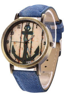Blue lans Anchor Bronze Denim Strap Watch (Dark Blue) Price Philippines