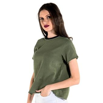 Harga OXYGEN Oversized Top with Neck Attachment and Uneven Hem (Green)