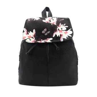 Lovely Floral Printing Leather Backpacks(Black) Price Philippines