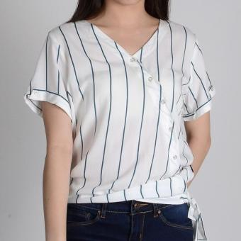 Harga Redgirl Short Sleeves Blouse Rlt04-3060 (White/Green )