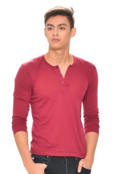 Harga Tex-Cock Long Sleeves Camisa de Chino (Maroon)