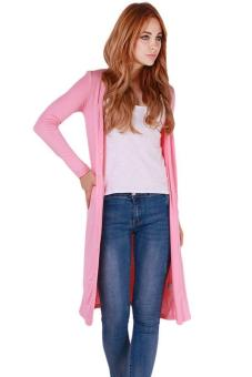 Hang-Qiao Sexy Long Outwear Cardigan Long Coat Knitwear Pink - intl Price Philippines