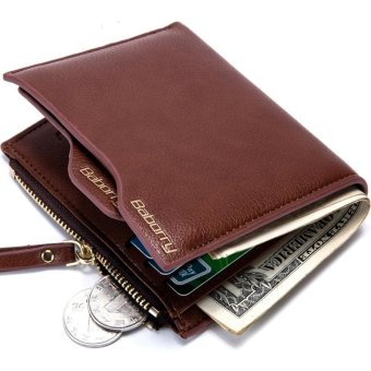 Harga New Men Wallet Design Top RFID Antimagnetic Anti RFID Men Short Wallet with the Zipper Wallet - Coffee - (Intl) - intl