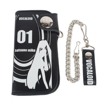 Harga Anime Hatsune Miku Long Leather Wallet Purse Card Holder Miku Cosplay Collection(Black) - Intl