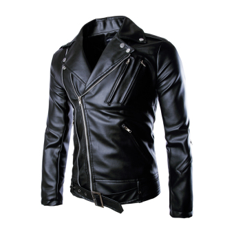 HDL Men Fashion Motorcycle Leather Jacket - Intl Price Philippines